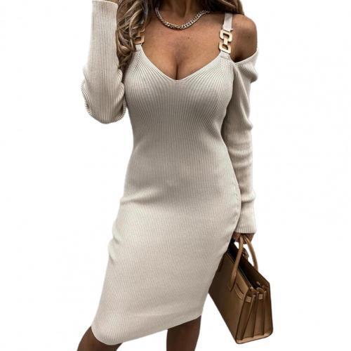 50% HOT SALES!!!Women Deep V Neck Long Sleeve Off Shoulder Metal Straps Ribbed Knitted Dress