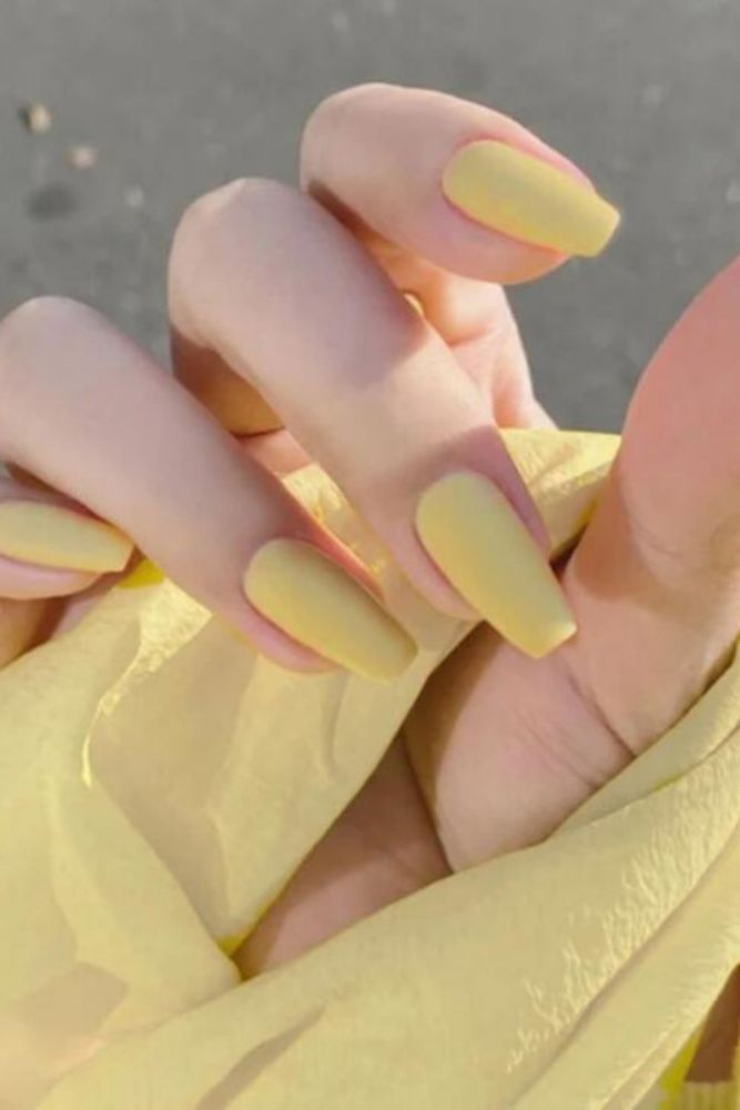 24pcs/box Full Cover fake Press on Nails Matte Yellow Pure Acrylic Frosted Ballerina acrylic for nails for Women free shipping