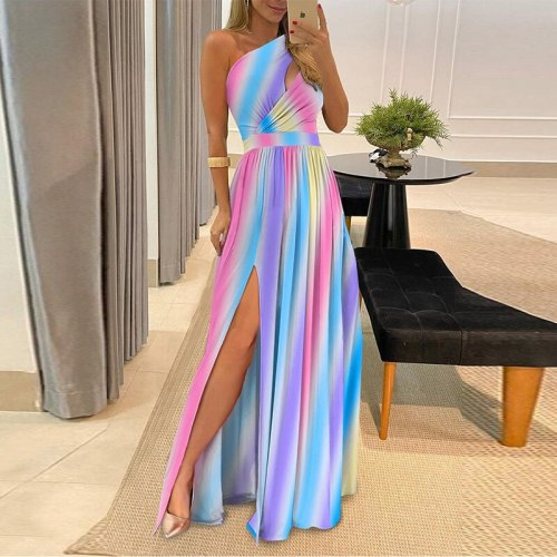 Summer New Sexy Skew Collar Draped Slim Dress Fashion Solid Hollow Out High Split Party Dress 2021 Women Casual Long Dress Mujer