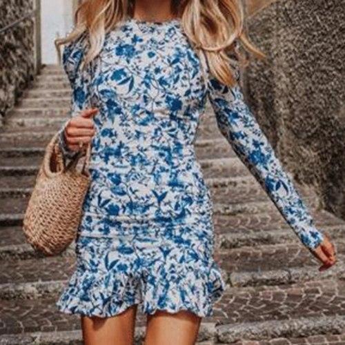Print Floral Ruffle Dress Autumn Women O Neck Slim Short Dress Long Sleeve Casual Blue Female Boho Party Holiday Vestidos 2021