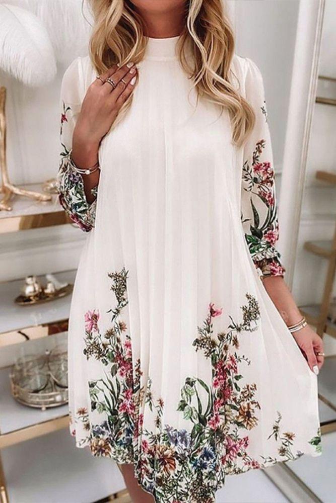 2021 Autumn Elegant Lantern Long Sleeve Party Dress Fashion Pattern Printed Princess Dress Casual O-Neck Loose Mid Length Dress