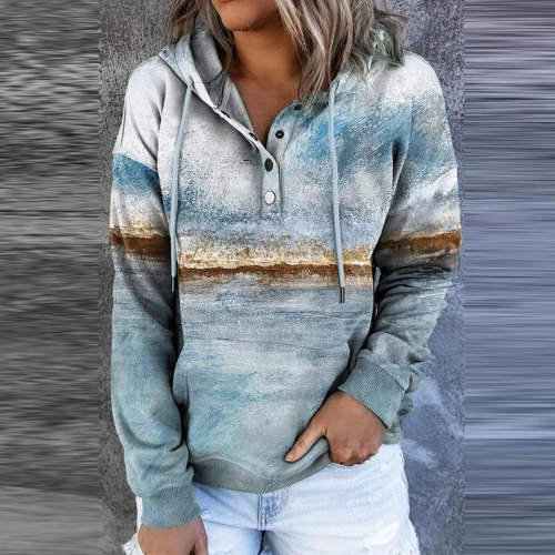2021 Autumn Vintage Landscape Printed Hooded Sweatshirt Women Casual Drawstring Button Tops Pullover Winter Long Sleeve Hoodie