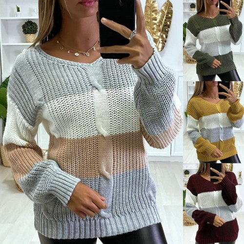 V-Neck Color Block Knitted Pullover Women Loose Plus Size Casual Sweater Acrylic Fashion Long-Sleeved Sweater Autumn and Winter