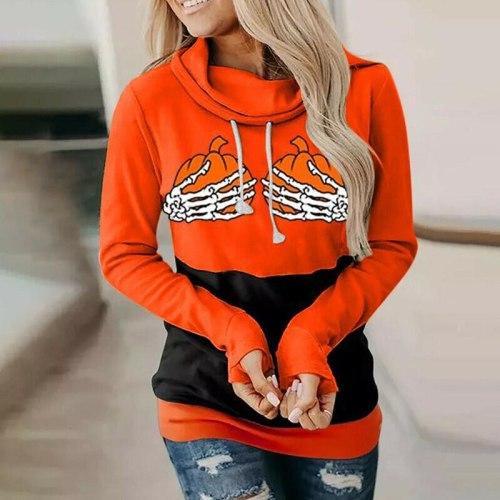 New Autumn Halloween Women Hoodies Skeleton Hand Pumpkin Print High Neck Drawstring Loose Sweatshirt Casual Long Sleeve Pullover