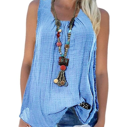 O-neck cotton linen vest women's solid color vest casual loose large shirt European and American summer women's sleeveless top