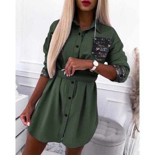 Shirt Dress Women Plus Size Autumn Spring Blouse Long Sleeve Mini  Button Down Dresses Shirts