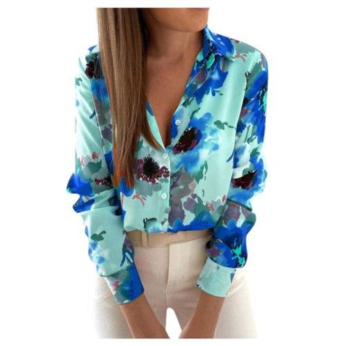 top shirt blouse autumn streetwear fashion new Women's Casual Floral Print Shirts Thermal Crewneck Long Sleeve T-Shirts Loose