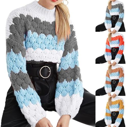 New Autumn Winter Wave Stripe Knitted Feather Hollow O-Neck Long-Sleeved High Neck Fashion Sweater Women Casual Knitted Sweaters