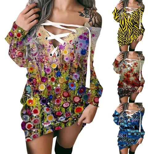 Floral Women Dress Fashion Casual Print Off-Shoulder Strappy Long Sleeves Sweatshirt Dress Vestido Robe Vestidos Sukienki Elbise