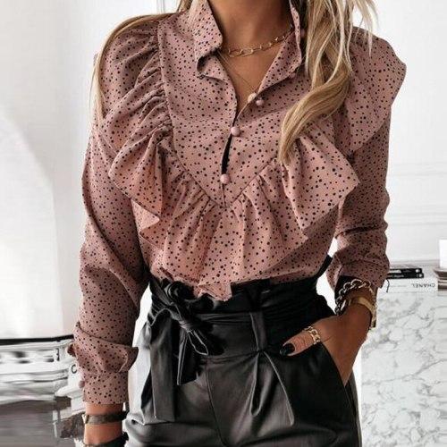 Casual Leopard Dot Print Ruffle Blouse Shirt Autumn Winter Long Sleeve Women Shirts Elegant Office Lady V-Neck Button Tops Blusa