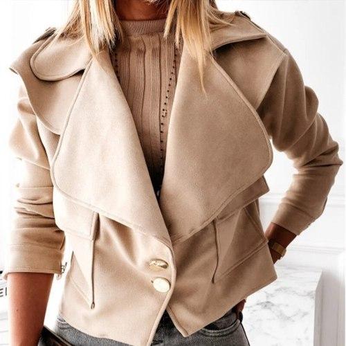 Solid Single Breasted Women's Jacket Turn Down Collar Slim Short Winter Woman Coats 2021 Streetwear Casual Jackets For Women Top