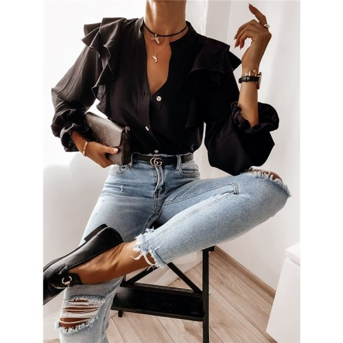 2021 Fashion High Street Female Elegant Ruffle Blouse Women Autumn Long Sleeve V-Neck Pullover Casual Button Solid Color Shirt