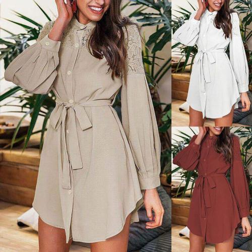 Elegant Dresses Women Solid Autumn Winter Puff Sleeve Buttons Lace Patchwork Belt Shirt A-line High waist Dress Long Sleeve