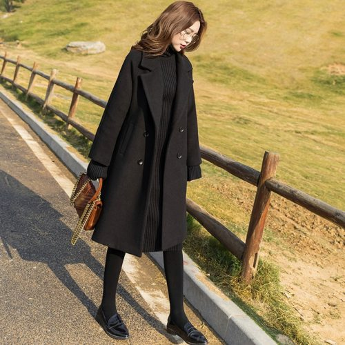 Net Red 2021 New Fahsion Autumn And Winter Black Hepburn Tweed Coat Women's Middle Long Thickened And Slim Tweed Coat