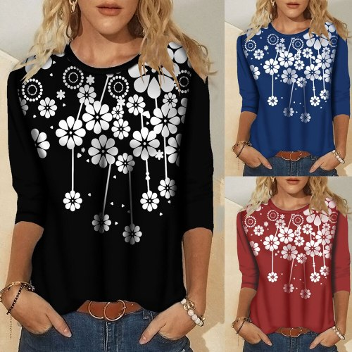 Hot Autumn Winter Women's Casual Printed Round Neck Vintage Long Sleeve T Shirt Shirts Loose Fashion New Pullover Streewear Tops