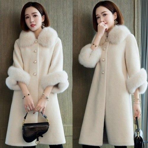 2021 Autumn And Winter Leisure Sheep Shearing Coat Women's Medium And Long Imitation Fox Fur Collar Loose Granular Fur Imitation