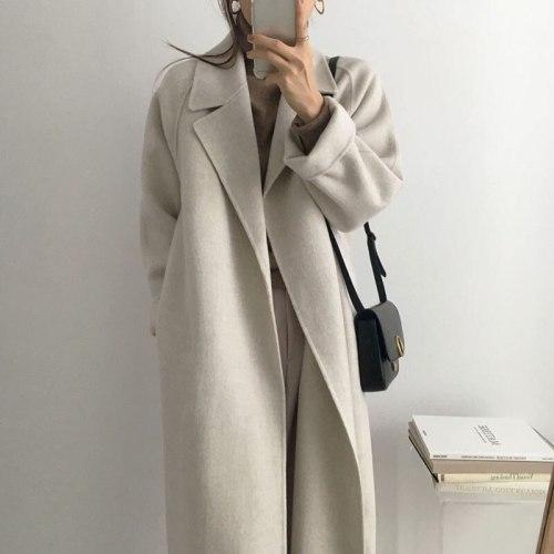 Long Sleeve Casual Vintage Belt 2021 New Fashion Long Autumn Faux Wool Blend Woolen Coat Winter Warm Women Warm Wool Coat