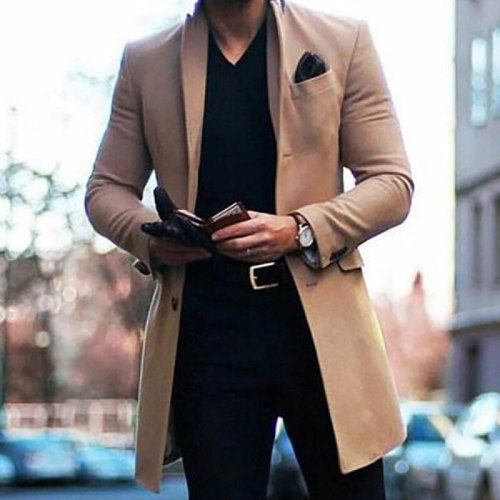 2021 autumn and winter new men's medium and long double-sided tweed coat autumn and winter wool coat trend