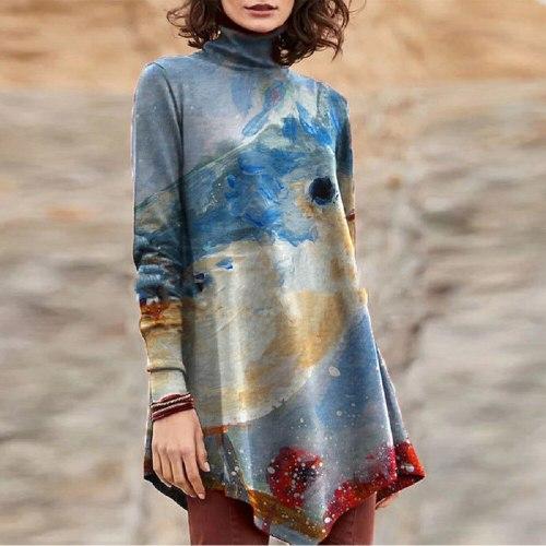 3d Dandelion Printed Long Sleeve T-shirt Women's Casual O-neck Fall T-shirt Pure Cotton Black Top Ladies Loose T-shirt Xl 3xl
