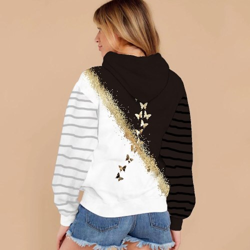 2021 Women's 3D Butterfly Printed Hoodie Street Trend Casual Pullover Tops Pocket Hoodies Long Sleeve Polyester Female Clothes