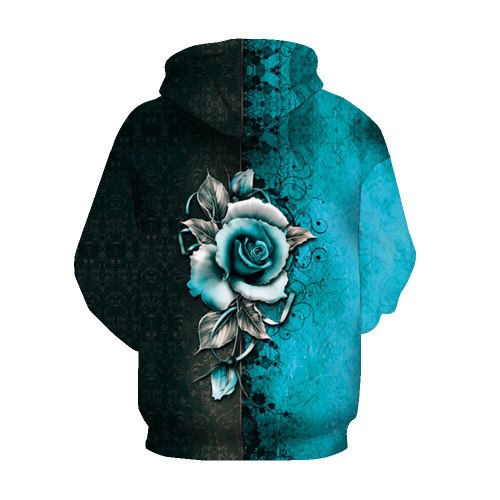 2021 Fashion Women's 3D Rose Printed Hoodie Street Trend Casual Pullover Tops Pocket Hoodies Polyester Female Clothes Autumn
