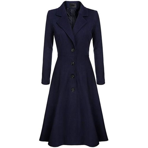2021 Women Winter Wool Coat Large Sizes Warm Casual Office Ladies Long Trench Coats Pleated Button Autumn Retro Female Overcoats
