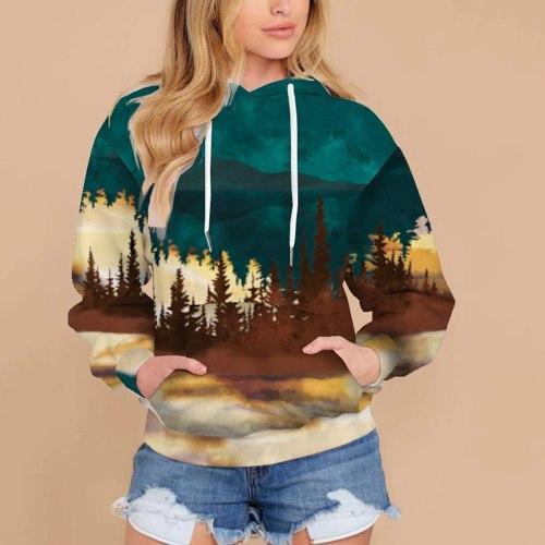 Women Butterfly Printing Sweatshirts Drawstring Hedging Long Sleeve Hooded Tops Hoodies Crewneck Sweatshirt
