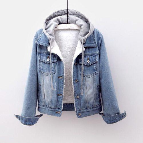 Women Denim Jeans Coat Jackets Hooded Autumn Winter Thick Fleece Fur Plush Lining Short Tops Vintage Long Sleeve