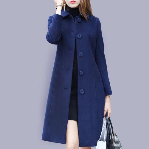 Christmas Warm Overcoat Autumn Winter Woolen Coat Female Mid-Long 2021 Fashion Single Breasted Casual Women's Slim Woolen Coats