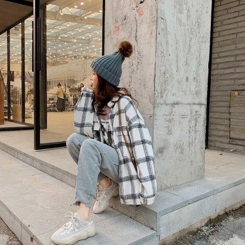 2021 Button Up Shirt Korean Style Oversized Plaid Shirts Blouse Women Autumn Cotton Blouse Long Sleeve Plus Size Blouses Blusas