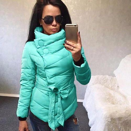 2021 Autumn Winter Single Breasted Women Casual Fashion Thin Short Coat High Neck Sashes Button Coats Warm Sashes Jacket Outfits