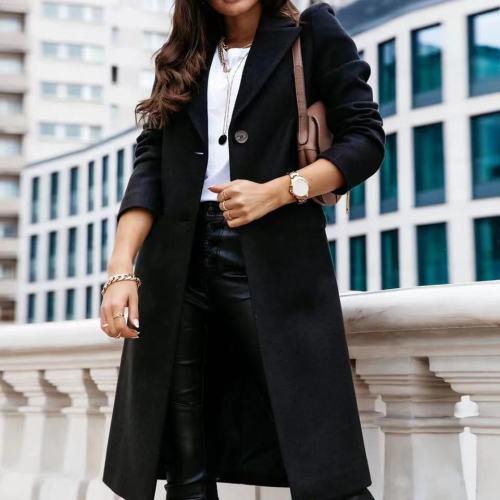 Fashion 2021 Ladies Women Long Wool Coats Autumn Winter Single Breasted Lapel Long Sleeve Overcoats Plus Size Casaco Feminino