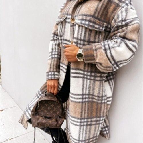 Autumn Winter Women Long-Sleeved Plaid Printed Shirt Jacket Fashion Loose Turn Down Collar Single-Breasted Long Shirt Coat Femme