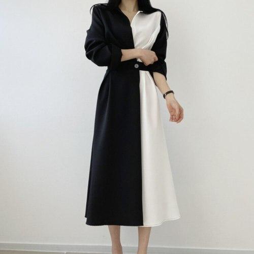 Autumn Retro Temperament Contrast Color Lapel Long-Sleeved Shirt Female Midi Dress 2021 Korean Elegant Fashion Slim Chic Dress