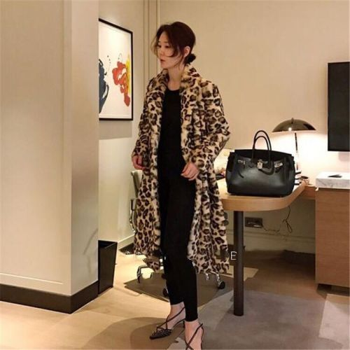 Classic Leopard Print Color Faux Fur Coat Women Long Thick Warm Jackets Fluffy Star Style Overcoats Winter Street Outerwear 2021
