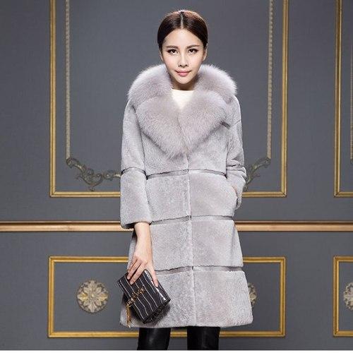 Fashion Slim Mid-Long Faux Fox Fur Collar Lamb Fur Coat Autumn Winter Casaco Feminino Sheep Shear Coat Trench Coat Female C155