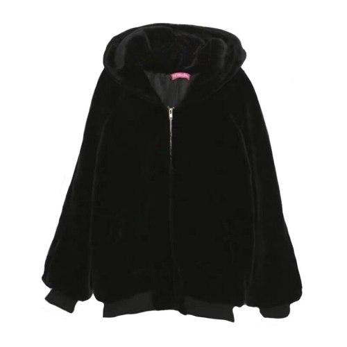 Fashion Faux Fur Winter Loose Sweater Women Thick Warm Warm Fur Furry Coat Mid-length Zipper Hooded Waterproof Mink Fur Coat