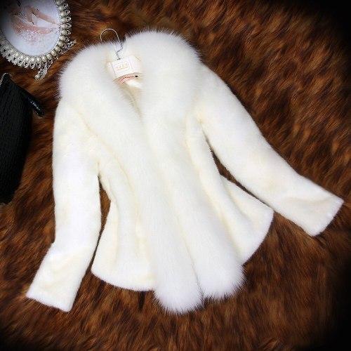 Winter Women Faux Fox Fur Coat Thick Fluffy Long Sleeve Luxury Fur Jacket Elegant Mujer bontjas Warm Furry Shaggy Outerwear 2021