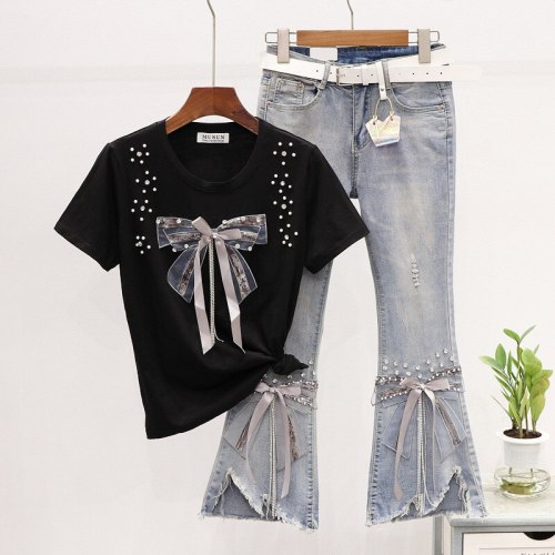 2021 New Summer Two Piece Set Women Ribbons Beaded Bow T-shirt + Ripped Flared Jeans 2 Piece Set Woman Denim Pants Suit MY1815