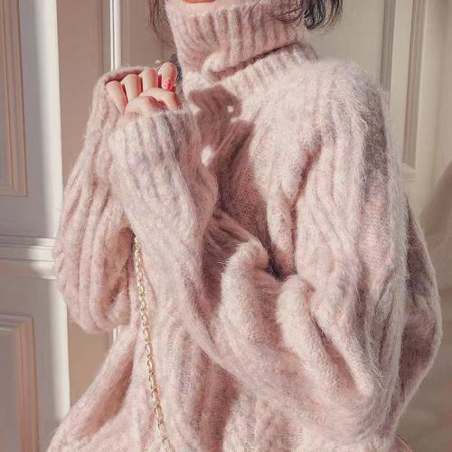 Turtleneck Sweater Women's Loose White 2021 Fall/Winter New Winter Lazy Wind Thickening Mid-Long Gentle Wind