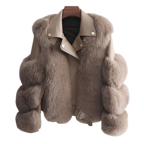 2021 New Women Faux Fox Fur Coat Short fur Big Size Slim Female Fake Fur Lady Winter Long Sleeve Imitation Fur Coats  Jackets 1297