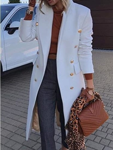 Autumn Winter 2021 Women Jackets Lapel Wool Coats Solid Double Breasted Ladies Knee Length Blends Coat Womens Plus Size Overcoat