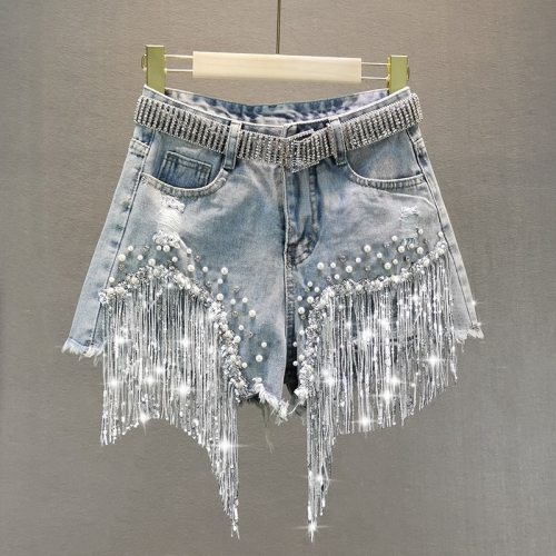 Female Denim Shorts 2021 Summer Wear New High Waist Slimming Heavy Beaded Sequin Fringed Ripped Jeans Shorts Hot no belt MY2437