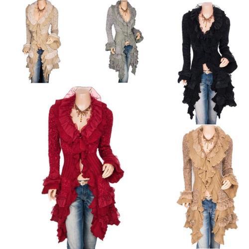 2021 Vintage Renaissance Coat Women Lace Jacket Victorian Steampunk Stand Collar Medieval Lace Up Dress Suit Countess Cardigan