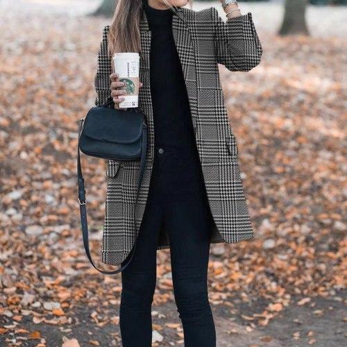 New Women's Wool Blends Coats Winter Autumn 2021 Fashion Lapel Printed Slim Long Woolen Ladies Overcoat Plus Size Outerwear 5XL
