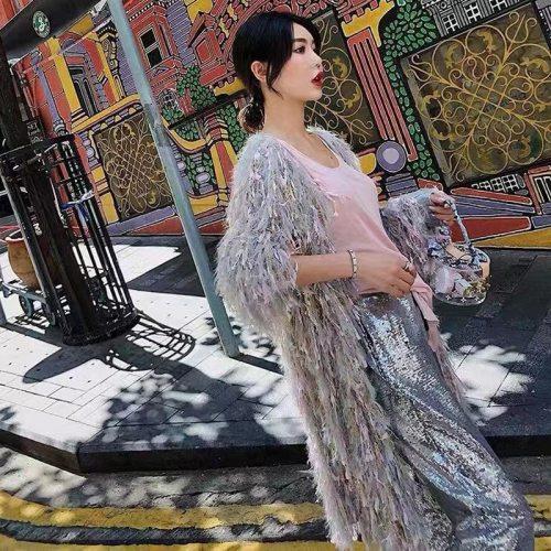 Luxury Shiny Sequins Knit Fringed Sweater Cardigan Korean Women Mohair Winter Loose Handmade Crocheted Jacket Fluffy Long Coats