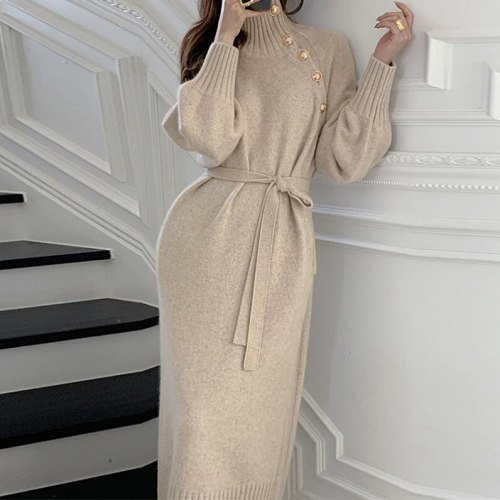 2021 French Niche Fall Winter Outfits Loose And Thin High-neck Sweater Two-wear Lace-up Waist Knitted Dress