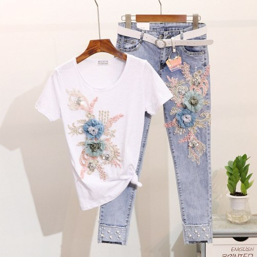 New Summer Two Piece Set Women Heavy Work Embroidery 3D Flower Tshirts + Pearl Jeans 2 piece Sets Casual Suits Outfits MY1684
