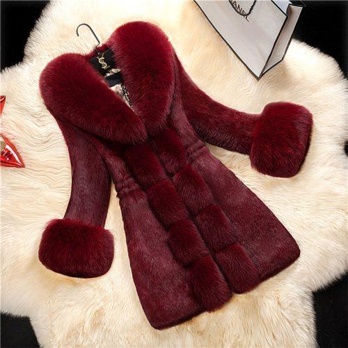 Winter 2021 Faux Fur Coat Women Thick Outwear Female Long Fake Fox Fur Collar Jackets For Ladies Slim Elegant Warm Coat New
