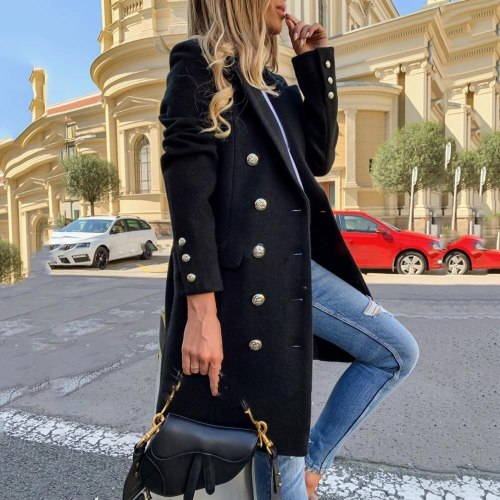 Vintage Elegant Office Lady Plus Size Jackets Black Blends Women Long Coats Trench Notch Collar Double Breasted Winter Outerwear